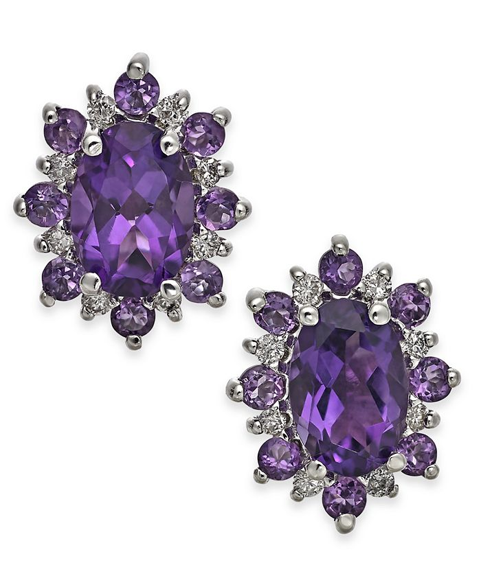 Macy's - Amethyst (1-1/5 ct t.w.) & Diamond Accent Stud Earrings in 14k Gold