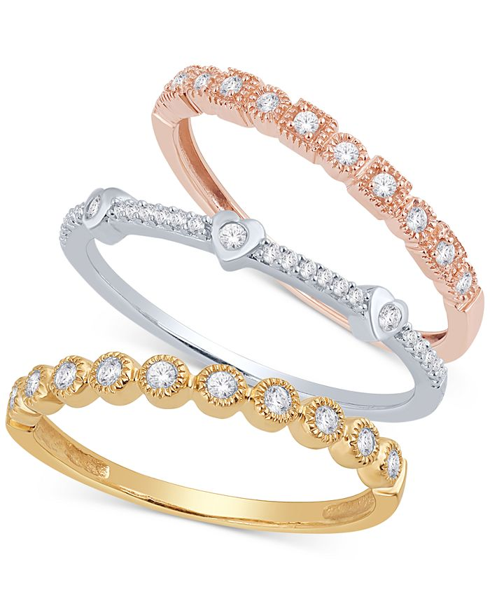 Macy's - 3-Pc. Set Diamond Stacking Rings (3/8 ct. t.w.) in 14k Gold, White Gold & Rose Gold
