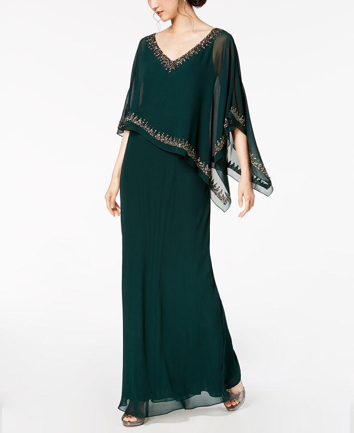 J Kara - Bead-Embellished Cape Gown