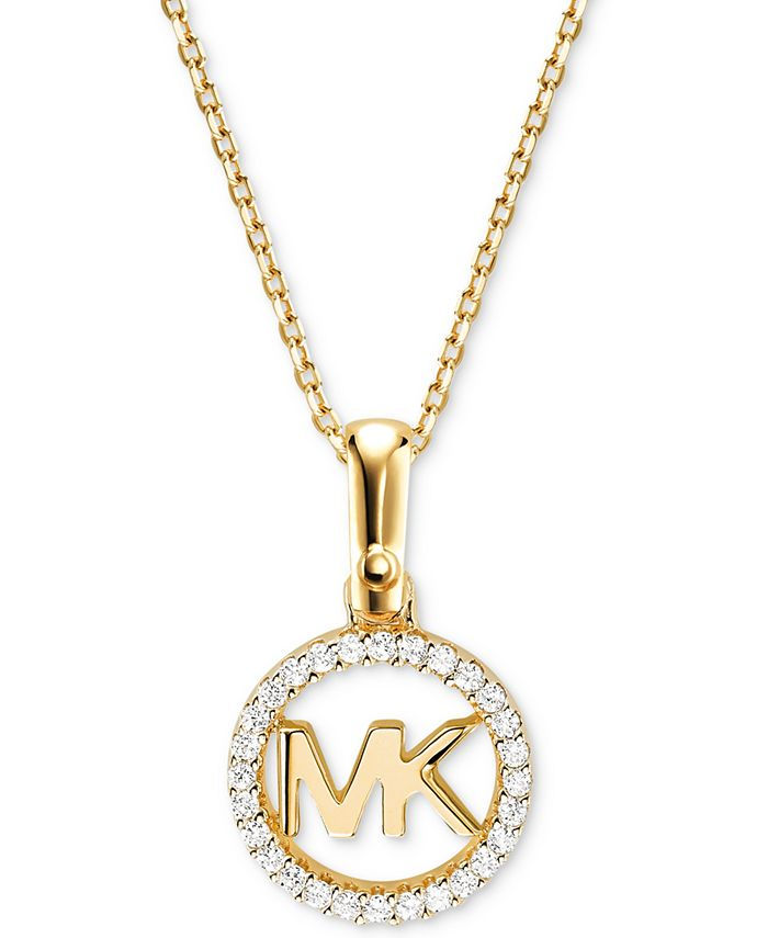 "Michael Kors - Sterling Silver Crystal Logo Pendant Necklace, 16"" + 2"" extender"