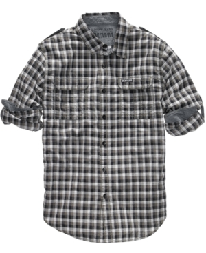 DKNY Jeans Shirt, Check Button Front Shirt