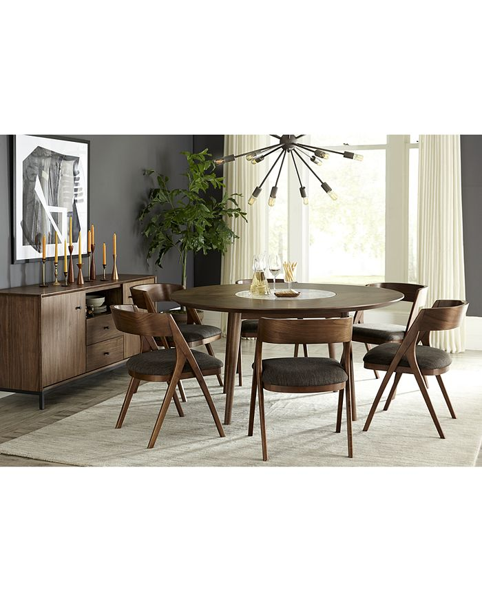 Furniture - Oslo Dining , 7-Pc. Set (Lazy Susan Table & 6 Side Chairs)