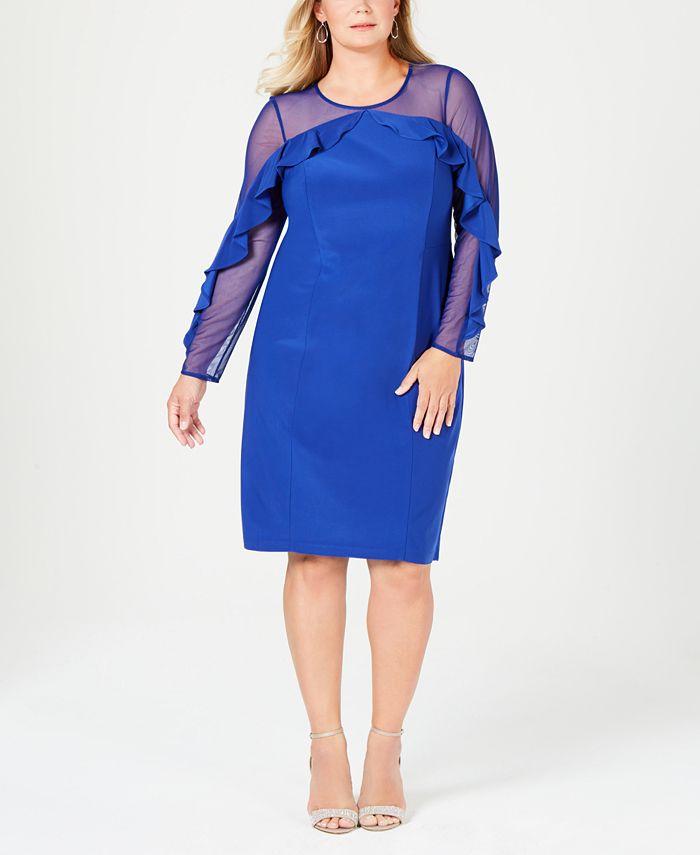 R & M Richards - Plus Size Illusion Ruffle Sheath Dress
