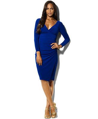 lauren ralph lauren long sleeve faux wrap sheath dress id