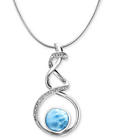 """Marahlago Larimar (12mm) & White Sapphire Accent Twist 21"""" Pendant Necklace in Sterling Silver"""