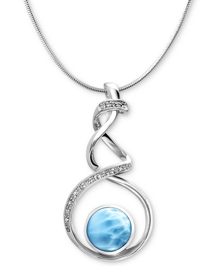 """Marahlago - Larimar & White Sapphire Accent Twist 21"""" Pendant Necklace in Sterling Silver"""