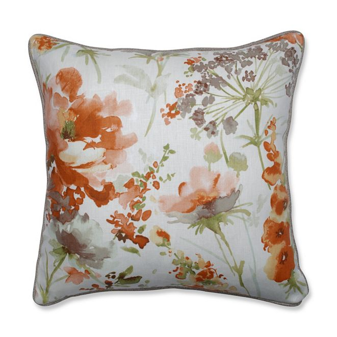 "Pillow Perfect Pretty Perennials Nude 18"" Throw Pillow"