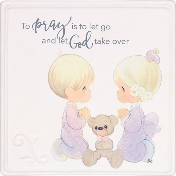 Precious Moments To Pray Is To Let Go Praying Boy And Girl Wall Plaque