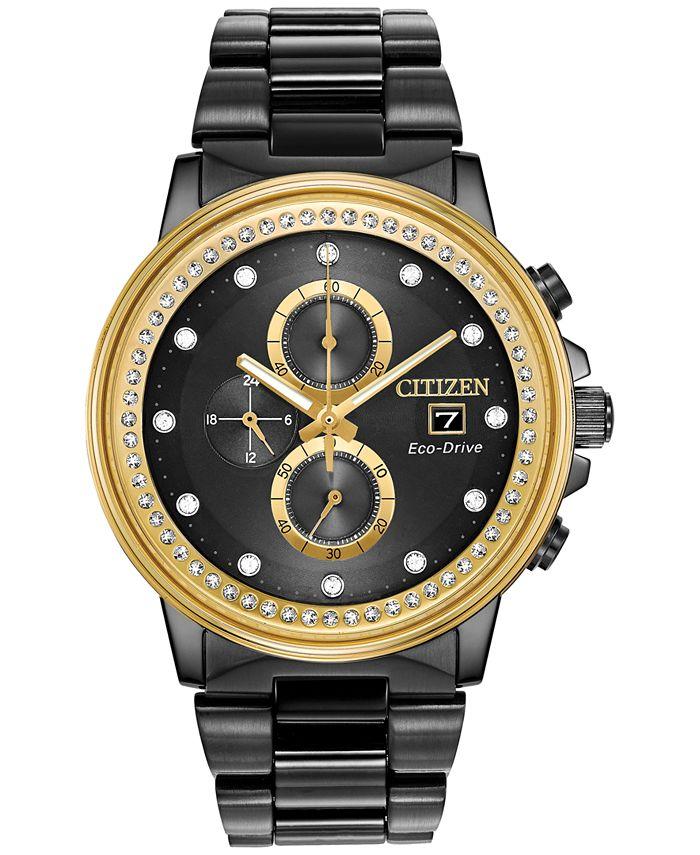 Citizen - Men's Chronograph Nighthawk Chandler Black Stainless Steel Bracelet Watch 42mm