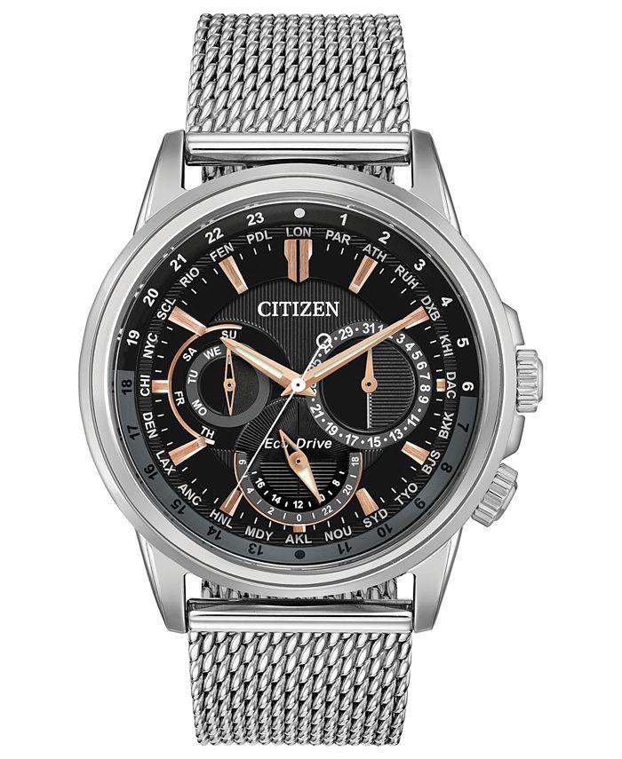Citizen - Men's Calendrier Stainless Steel Mesh Bracelet Watch 44mm
