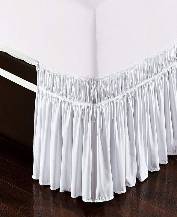 De Moocci Wrap Around Bed Skirt, Elastic Dust Ruffle Easy Fit, Wrinkle and Fade Resistant - Queen King
