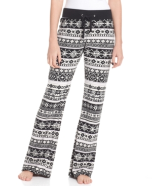 Planet Gold Pants, Relaxed Fit Printed Plush Fleece Elastic Waist