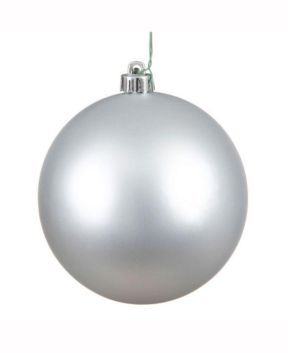 "Vickerman 6"" Silver Matte Ball Christmas Ornament, 4 per Box"
