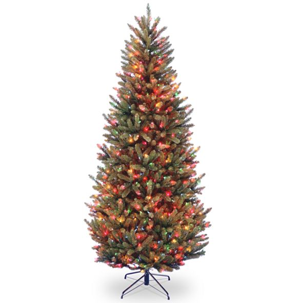 National Tree Company National Tree 7.5' Natural Fraser Slim Fir Hinged Tree with 600 Multi Lights