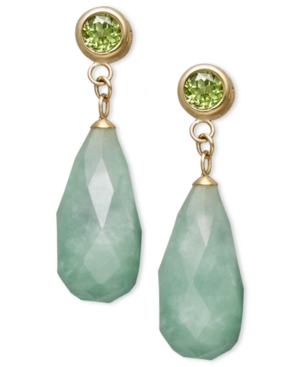 14k Gold Earrings, Jade (8-18mm) and Peridot (1 ct. t.w.) Drop Earrings