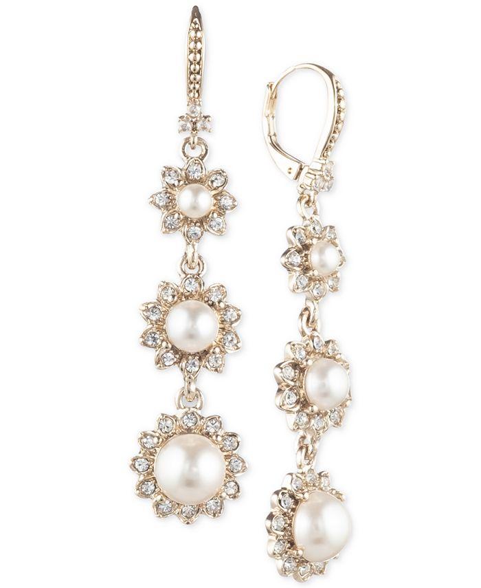 Marchesa - Gold-Tone Imitation Pearl & Crystal Triple Drop Earrings