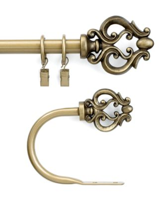 "CHF Peri Window Hardware, Geneva Scroll Drapery Rod 66""- 120"""