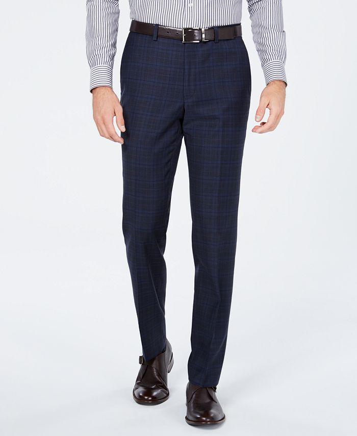 Cole Haan - Men's Grand OS Slim-Fit Wearable Technology Plaid Suit Pants