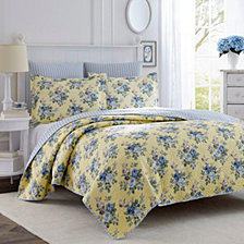Laura Ashley King Linley Yellow Quilt Set
