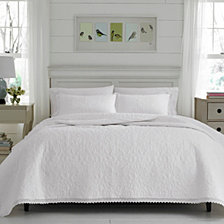 Laura Ashley Twin Heirloom Crochet White Quilt Set