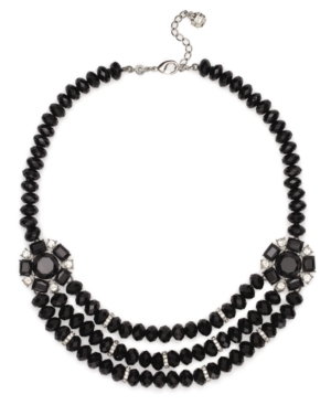 Monet Necklace, Silver Tone Jet Glass Beaded Necklace