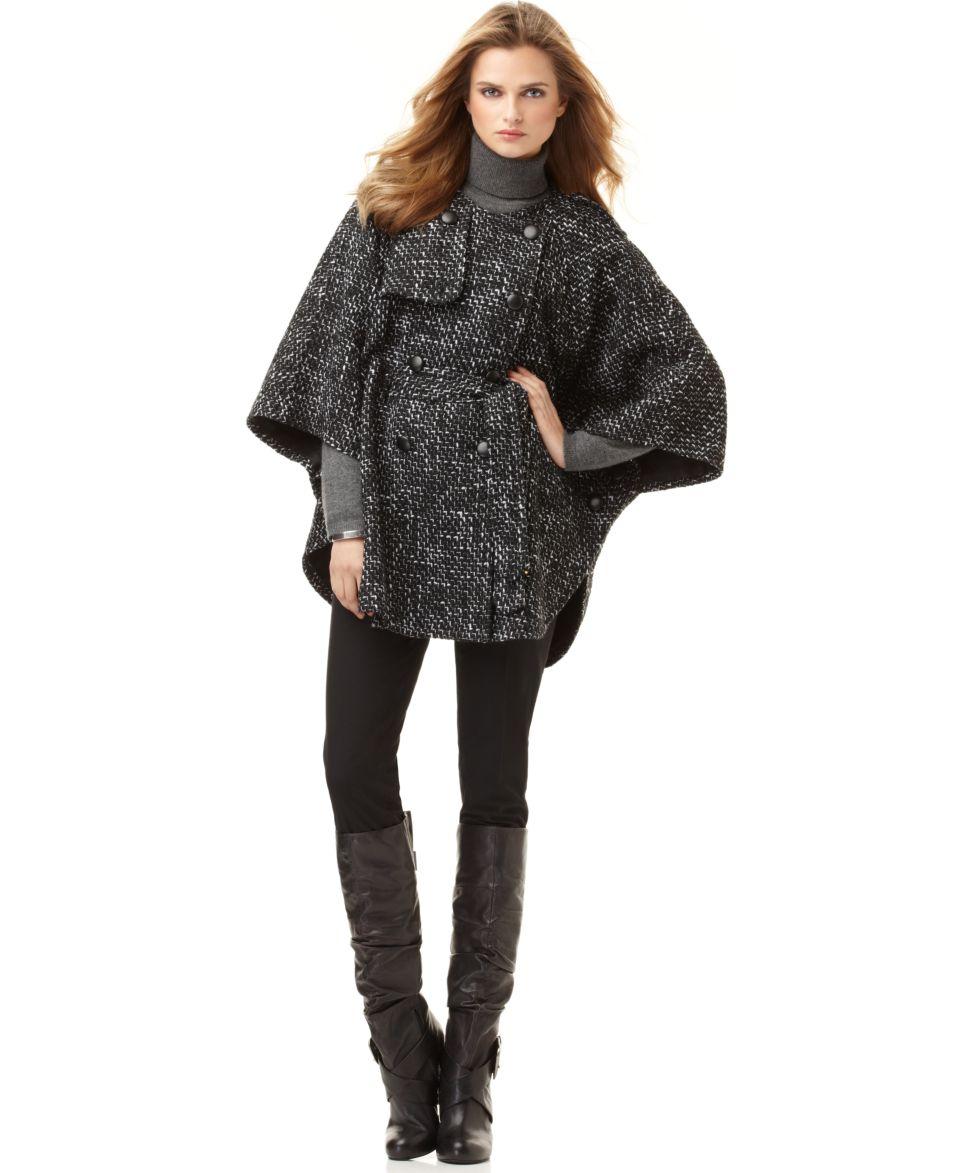 AK Anne Klein Jacket, Batwing Sleeve Tweed Belted Cape   Coats   Women