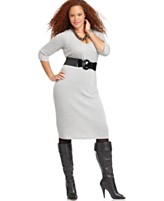 L8ter Plus Size Dress, Three Quarter Sleeve Belted