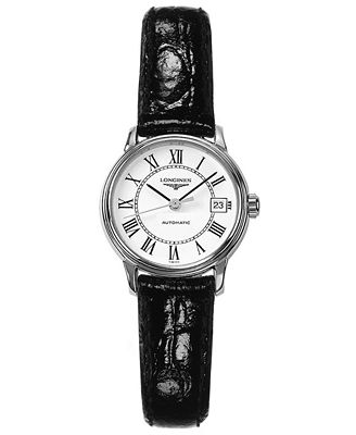 Longines watch women 39 s swiss automatic presence black leather strap l43214112 watches for Longines leather strap