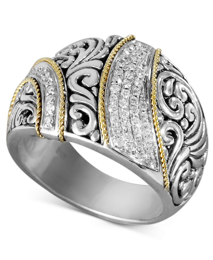 EFFY Collection - Diamond Ribbon Statement Ring (1/4 ct. t.w.) in 18k Gold and Sterling Silver