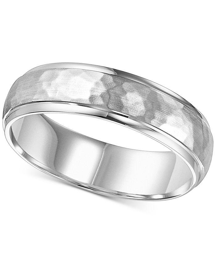 Macy's - Hammered Bevel Edge Wedding Band in 14k White Gold