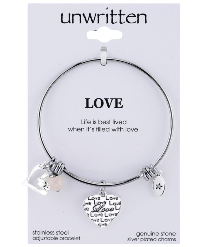 Unwritten Love Charm and Rose Quartz (8mm) Bangle Bracelet in Stainless Steel with Silver Plated Charms & Reviews - Bracelets - Jewelry & Watches - Macy's