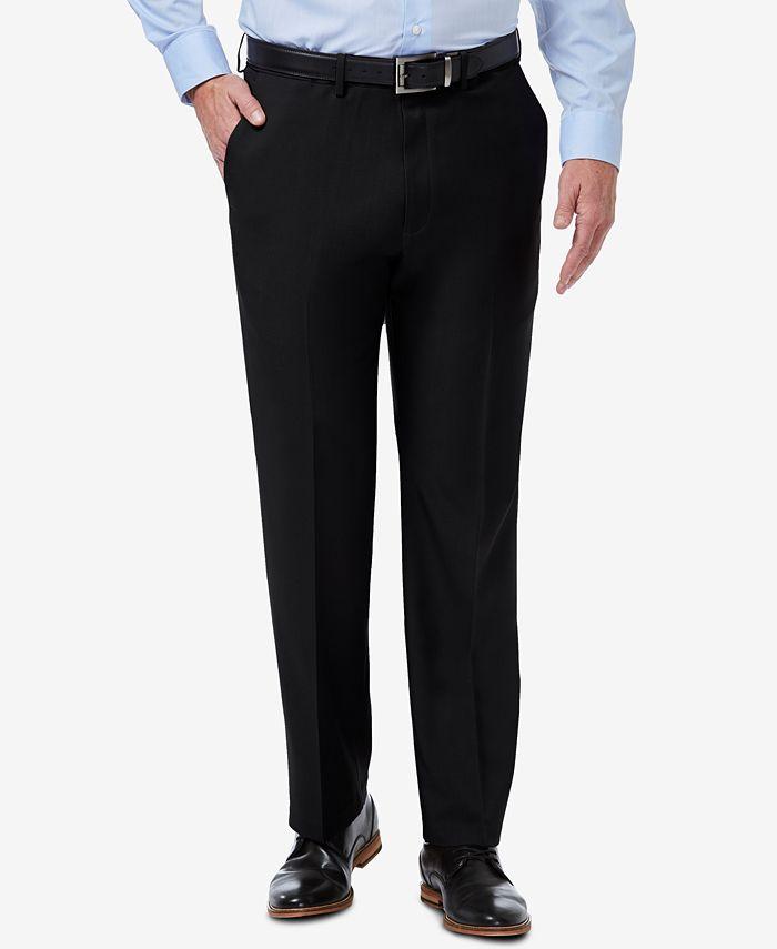 Haggar - Men's Premium Comfort Stretch Classic-Fit Solid Flat Front Dress Pants