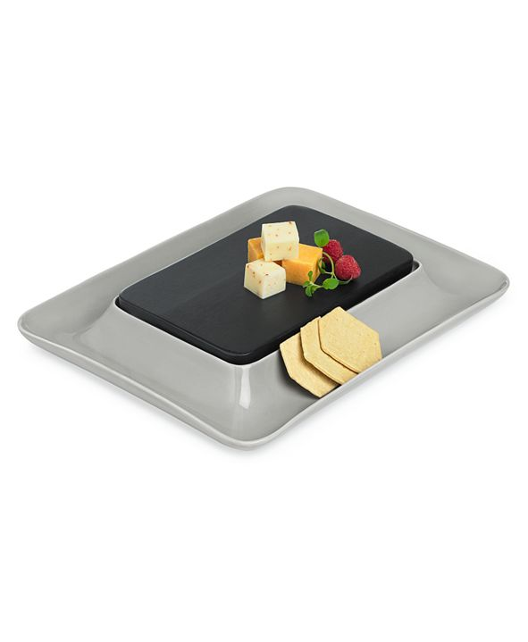 Hotel Collection Modern Wood & Stone Cheese Cracker Server, Created for Macy's