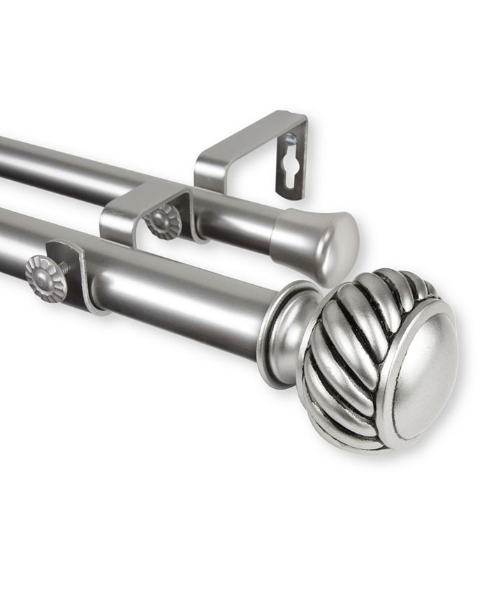 "Rod Desyne - Baldir Double Curtain Rod 1"" OD 28-48 inch - Satin Nickel"