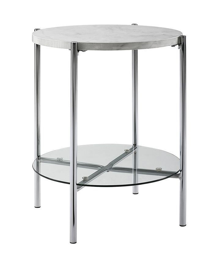 Walker Edison - 20 inch Round Side Table in White Faux Marble with Glass Shelf and Chrome Legs