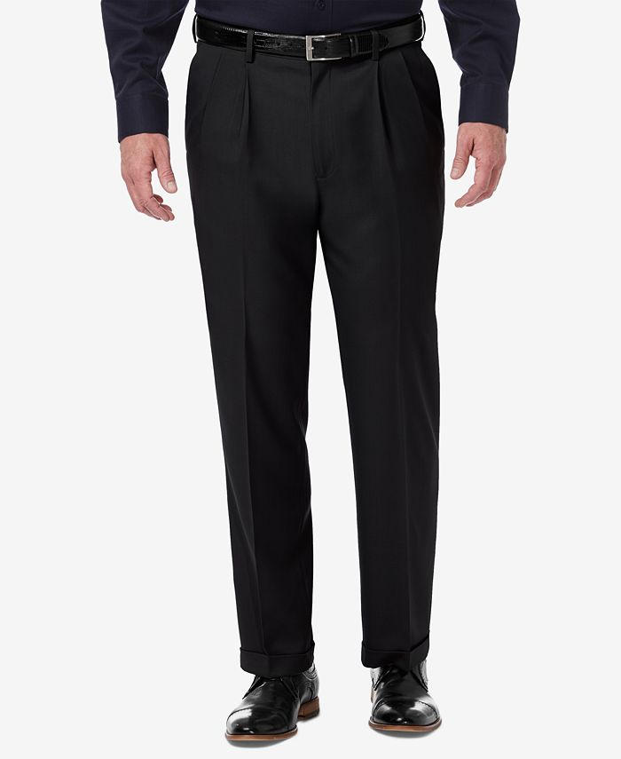 Haggar - Men's Premium Comfort Stretch Classic-Fit Solid Pleated Dress Pants