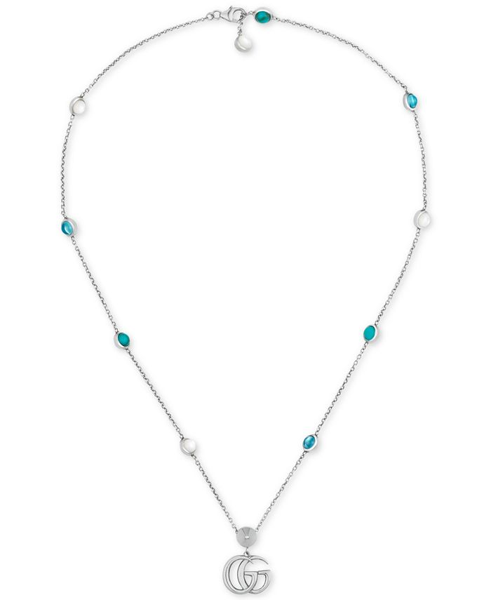 "Gucci - Multi-Gemstone Double G Pendant Necklace in Sterling Silver, 15-1/2"" + 1"" extender, YBB52739900100U"