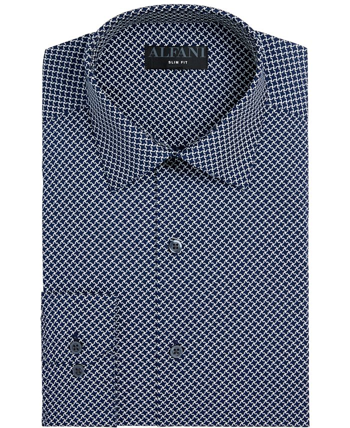 Alfani - Men's Slim-Fit Performance Stretch Easy-Care Puzzle Print Dress Shirt