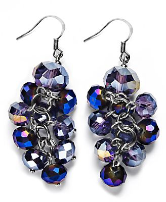 c.A.K.e. by Ali Khan Earrings, Purple Glass Beaded Cluster Drop Earrings