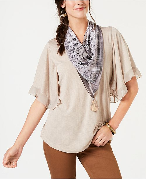 Style Co Ruffled Scarf Top Created For Macy S Reviews Tops Women Macy S
