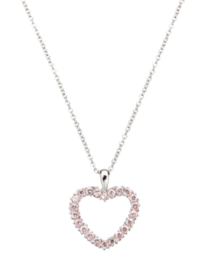 CRISLU Children's Necklace, Platinum over Sterling Silver Pink Cubic Zirconia Heart Pendant (3/8 ct. t.w.)