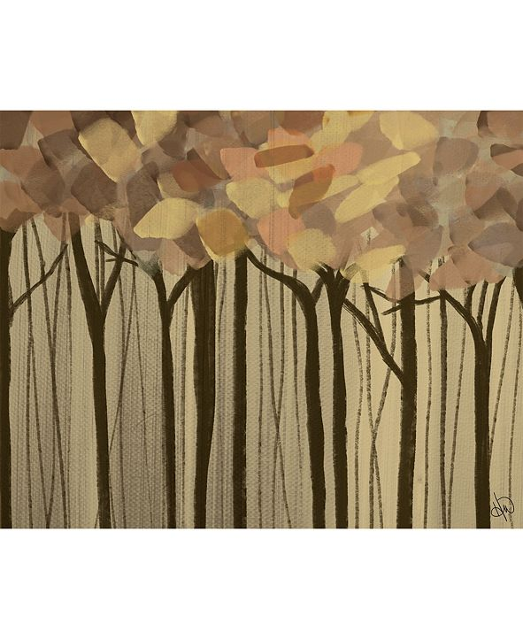 """Creative Gallery Neutral Painted Leaves Abstract Forest 16"""" X 20"""" Acrylic Wall Art Print"""