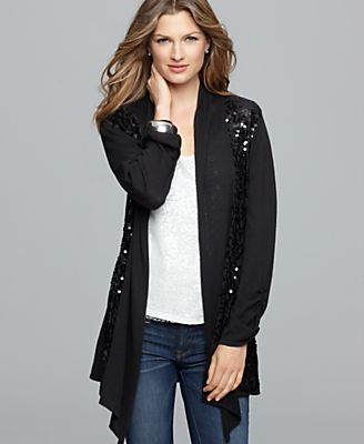 Style&co. Cardigan, Long Sleeve Sequin Open Front Asymmetrical Hem