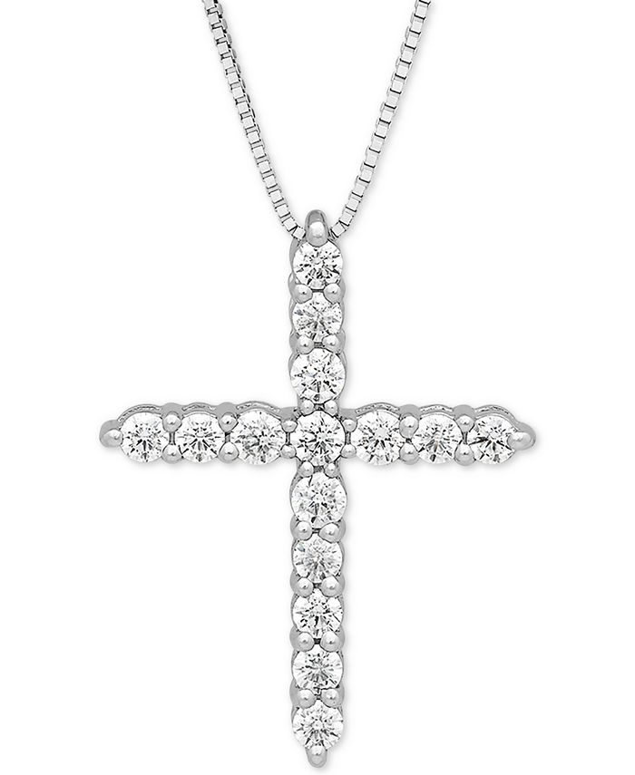 """Grown With Love - Lab Grown Diamond Cross 18"""" Pendant Necklace (1/2 ct. t.w.) in 14k White Gold"""