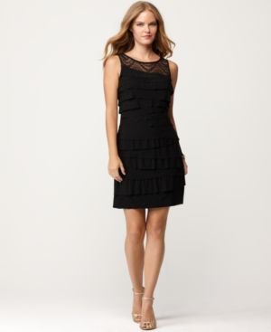 Nine West Petite Dress, Sleeveless Lace Tiered