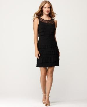 Nine West Petite Dress, Sleeveless Lace Tiered