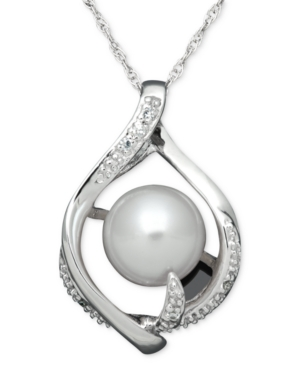 Sterling Silver Necklace, Cultured Freshwater Pearl and Diamond Accent Wrap Swirl Pendant