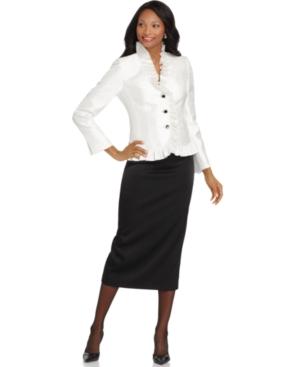 Kasper Suit, Ruffled Jewel Button Jacket & Skirt