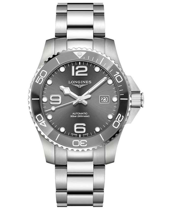 Longines - Men's Swiss Automatic HydroConquest Stainless Steel and Ceramic Bracelet Watch 43mm