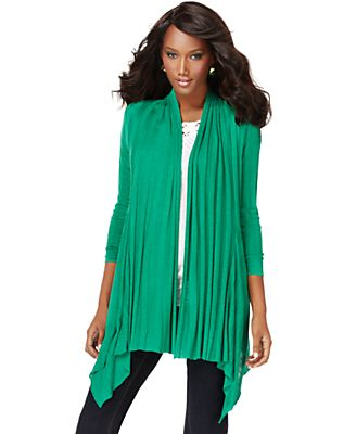 INC International Concepts Sweater, Long Sleeve Asymmetrical Hem Open Cardigan